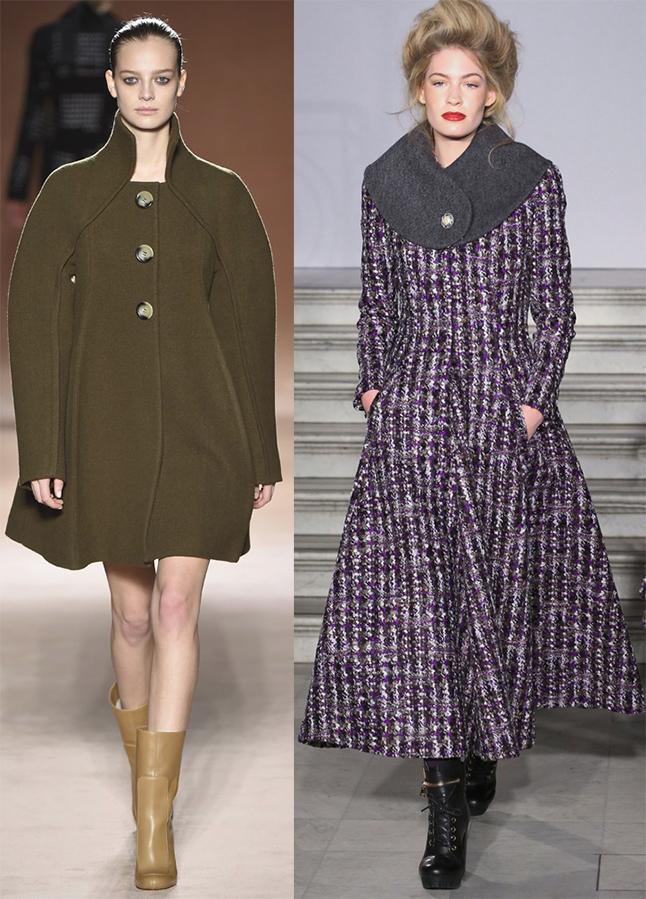Пальто с широкими рукавали, большим воротником популярны в этом сезоне