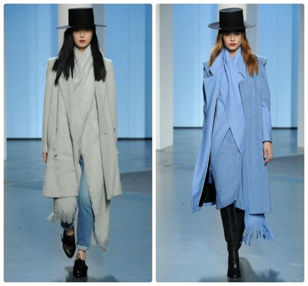 Пальто, дополненное шляпой и шарфом смотрится стильно