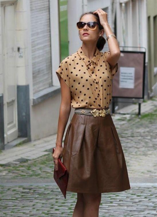 Юбка трапеция коричневая с чем носить
