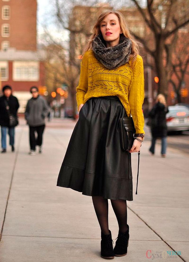 кожаная длинная юбка с чем носить