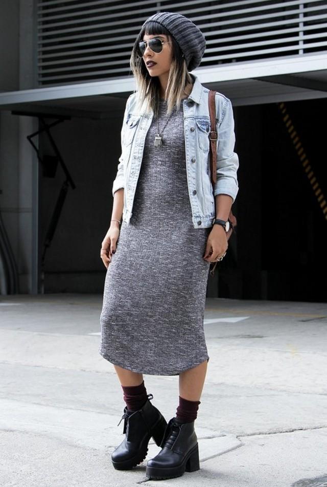 Платье с асимметричным подолом с чем носить